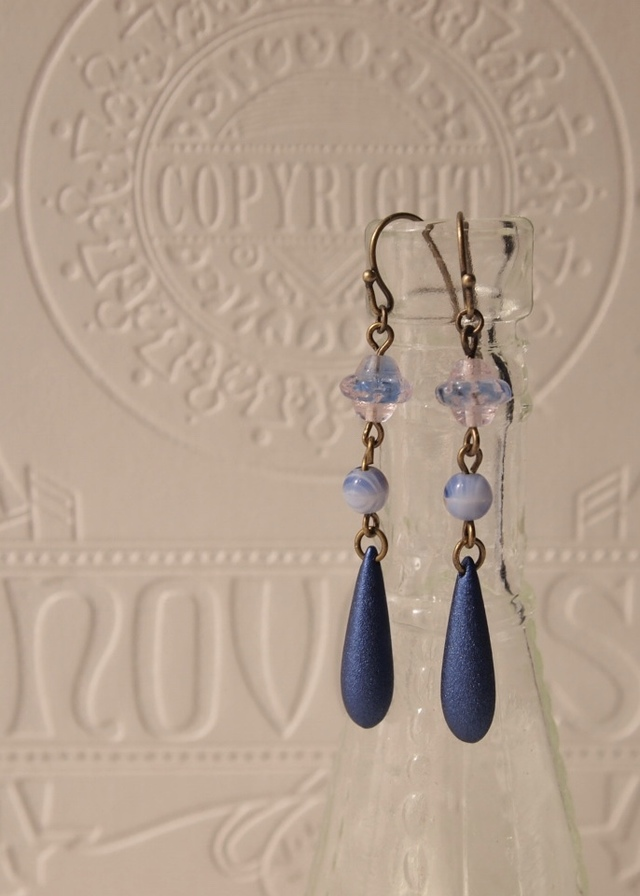 Blue lace and tear drop earrings