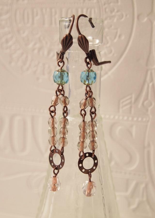 Emerald & copper earrings