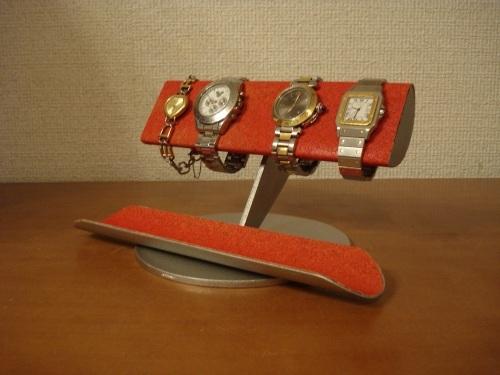 レッド半円ロングトレイ4本掛け腕時計スタンド ak-design