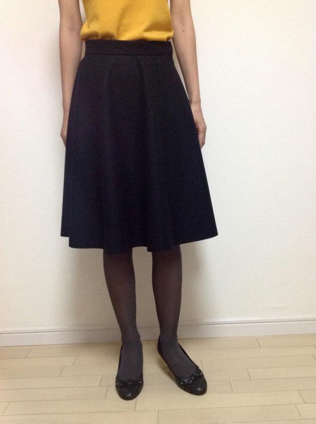 圧縮ウールのフレアスカート ブラック