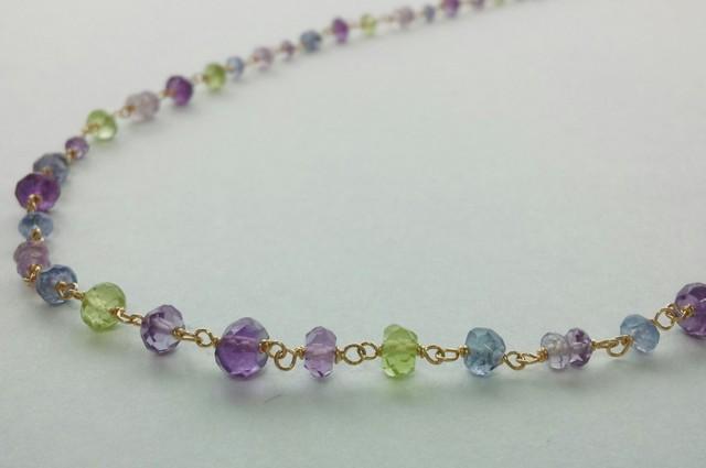 【14kgf】紫陽花色の天然石のネックレス