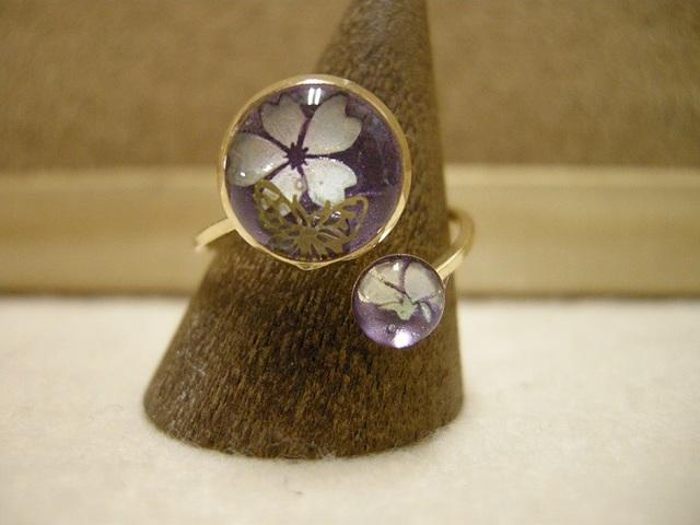 *再販 桜と蝶々のリング 紫ver.*