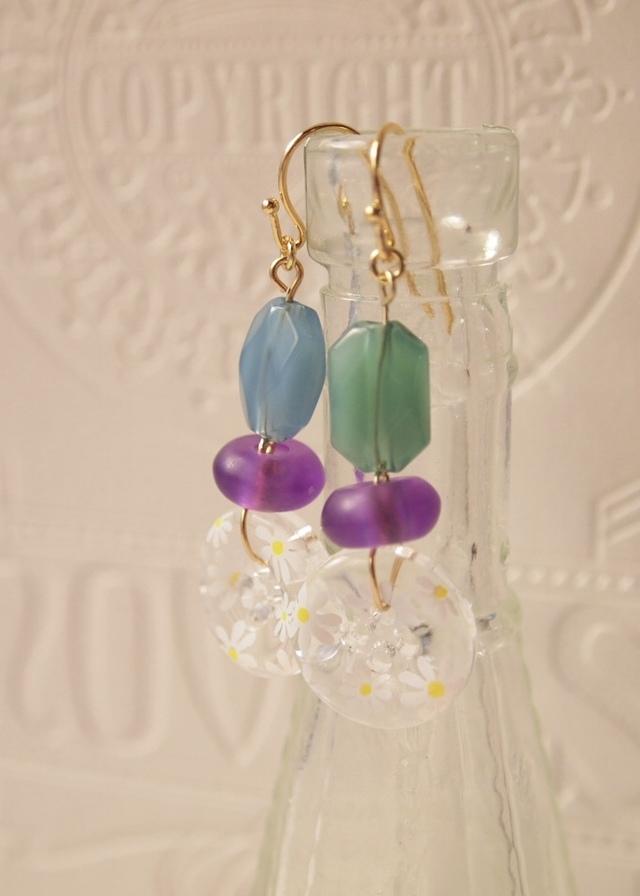 Flower botton earrings