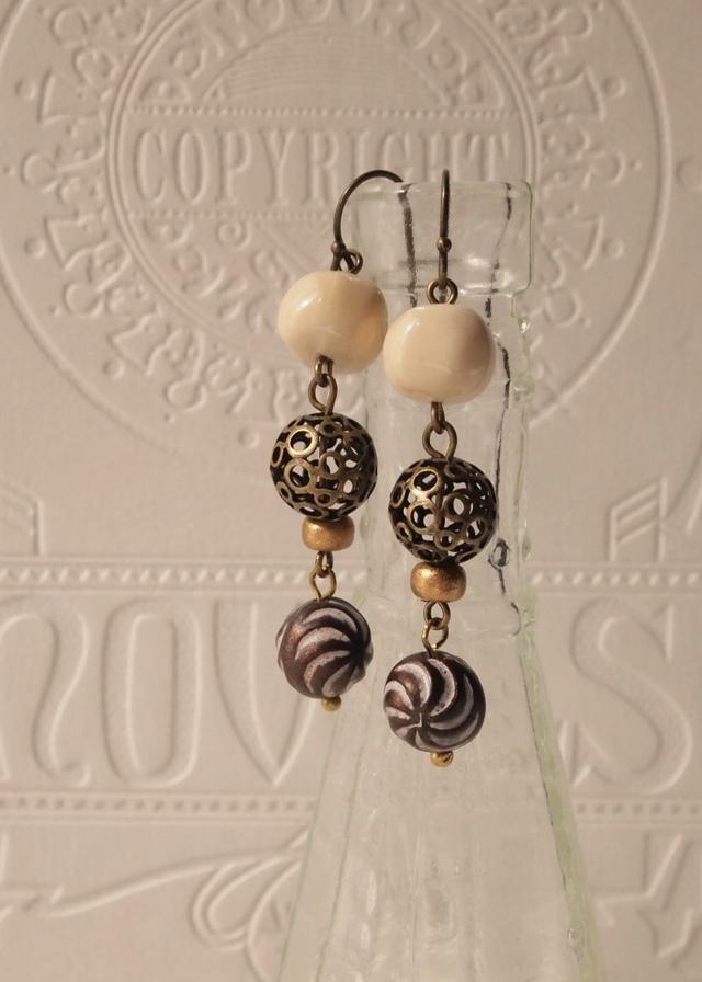 Off-white & brown earrings