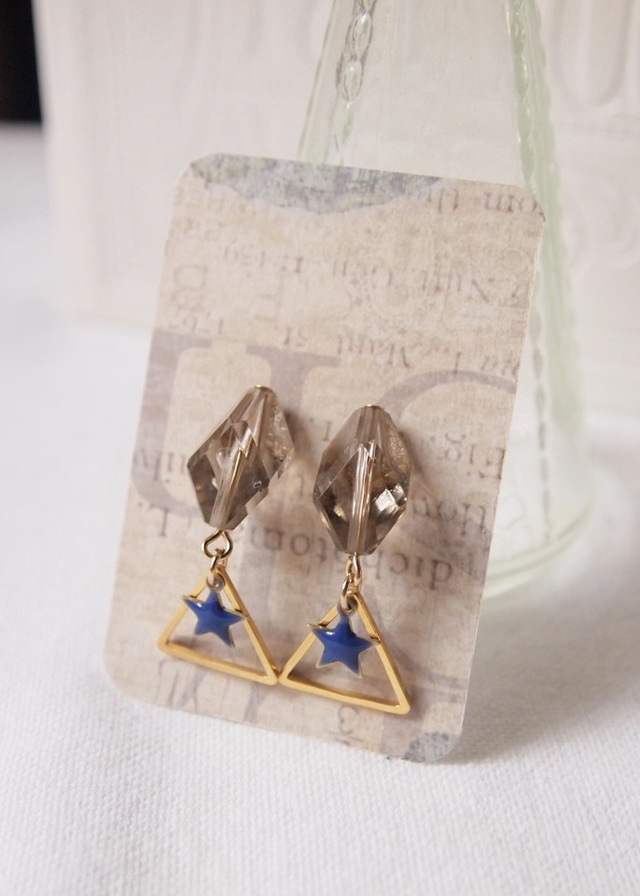 Smoky gray & blue star earrings