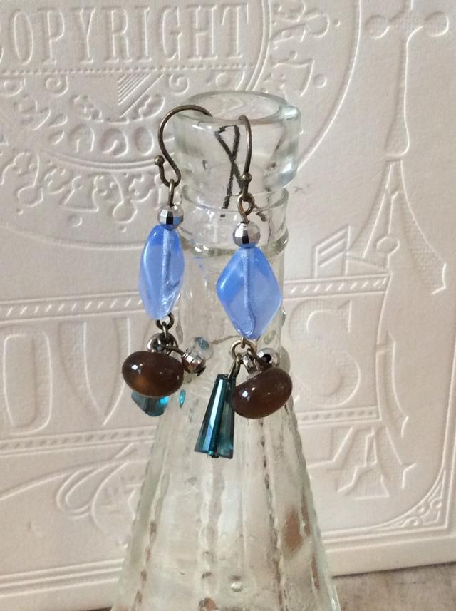 Blue & brown earrings