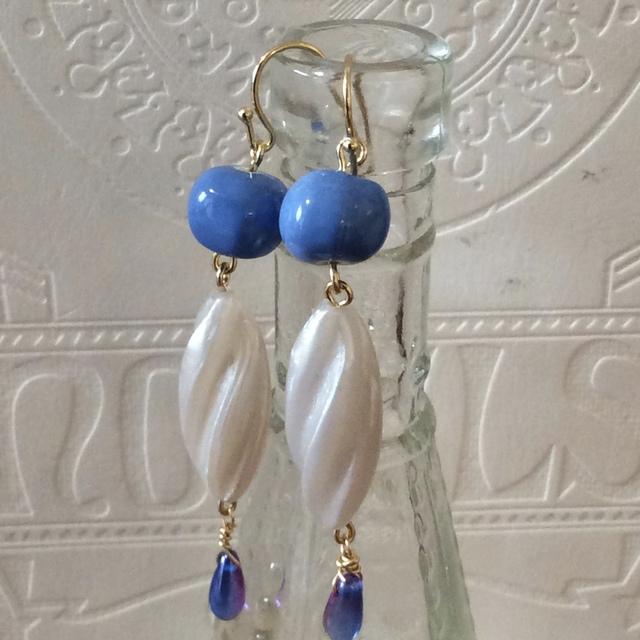 Sky blue & white earrings