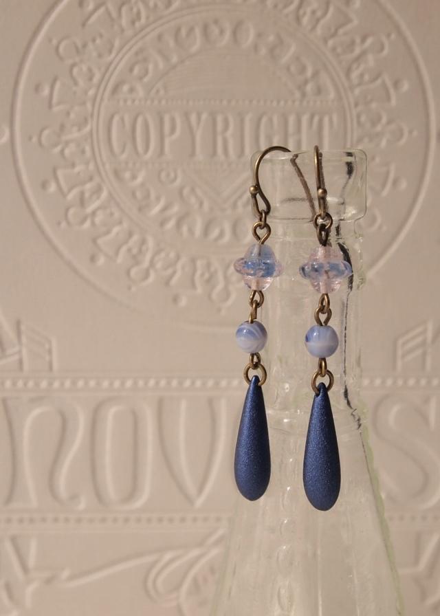 Blue lace & shiny blue earrings