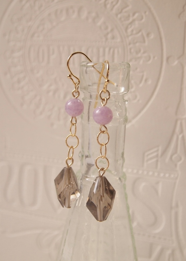 Smoky gray & pink earrings
