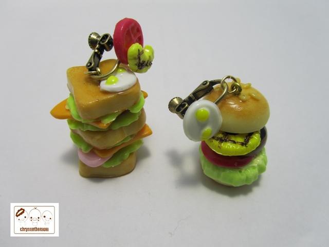 【現品限り】食べちゃダメよ!サンドイッチ&ハンバーガーのイヤリング