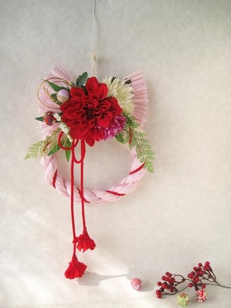 しめ縄リース 花びらタッセル01(ダリアR&ピンク) 【DELPHIオリジナル】【迎春・お正月・しめ飾り】