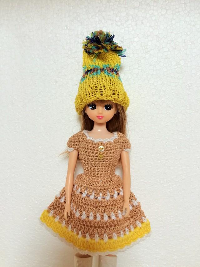 リカちゃん用☆ワンピースと帽子のセットc