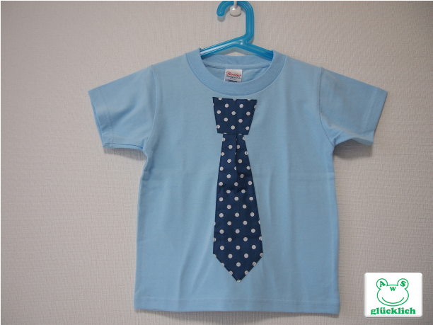 ネクタイTシャツ/110サイズ/水色×水玉