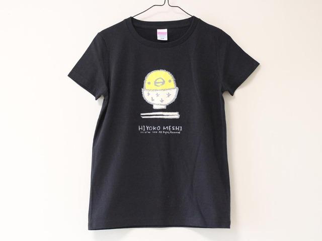 ひよこめしTシャツ ブラック(girls-M)