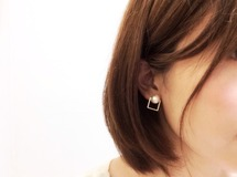 "♡×19,000 ""square□○ pearl"" pierce/earring"