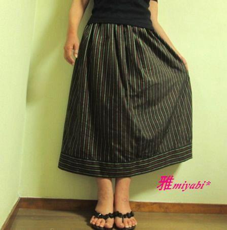 新作縦縞渋可愛い綿の大人着物スカート