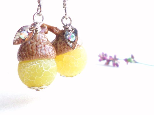 Agate どんぐり Earrings *Lemon*