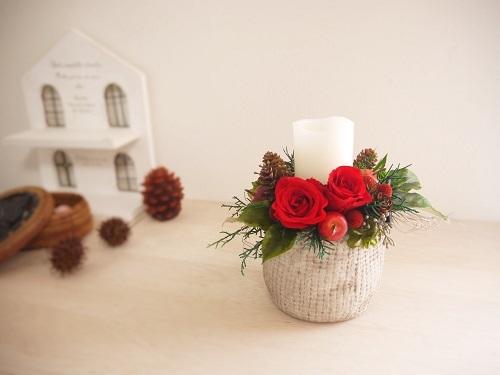 クリスマスキャンドルアレンジ・ソレイルレッド