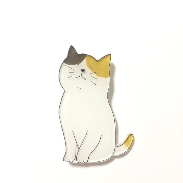 ねこブローチ/みけねこさん【プラバン】