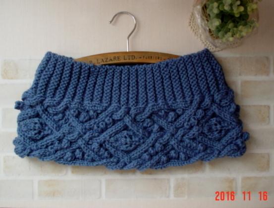 モスコバルトブルー色のガーター&アラン模様のCowl Neck Warmer