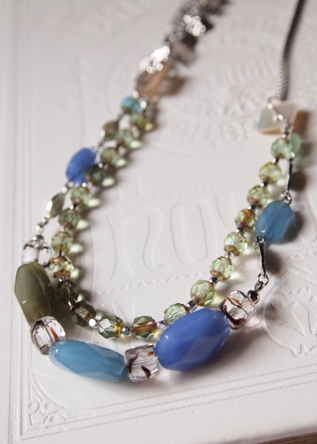 Flosted blue necklace