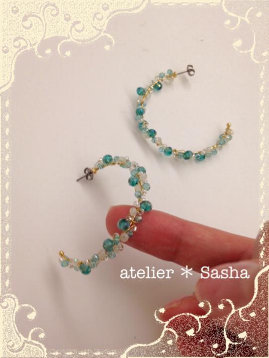 summer hoop ピアス(blue)
