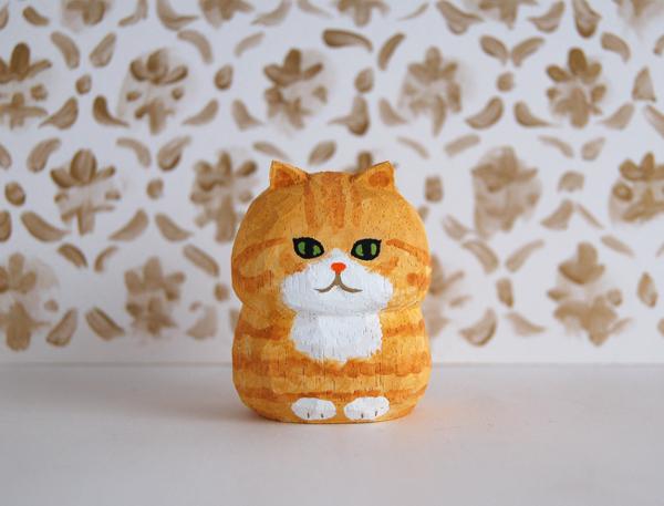 木彫り人形ねこ 茶トラ [MWF-242]