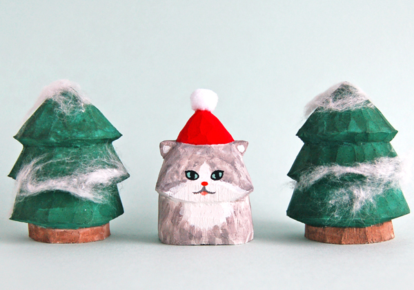 木彫り人形ねこ サンタにゃん ペルシャ...