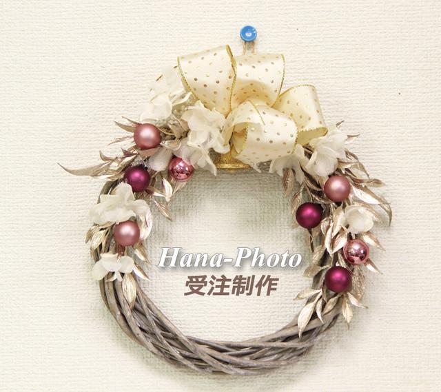 017) 大人ピンクの上品クリスマスリース (受注制作)