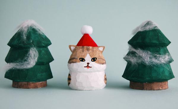 木彫り人形ねこ  サンタにゃん [MWF-2...