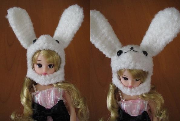 【再販&受注制作】お人形さん用お帽子(うさちゃんカブリモノ)♪【画像はサンプルです】