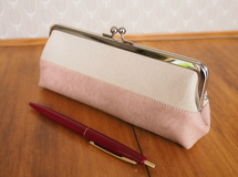 Bicolour Suede Leather Pen Case #1(Pink)