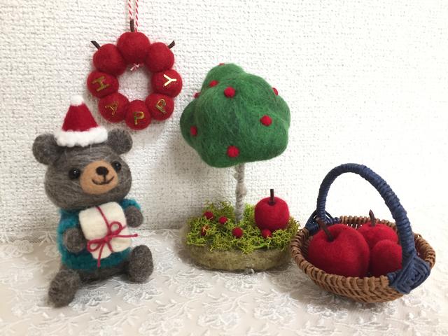 羊毛フェルト クリスマスくまちゃん