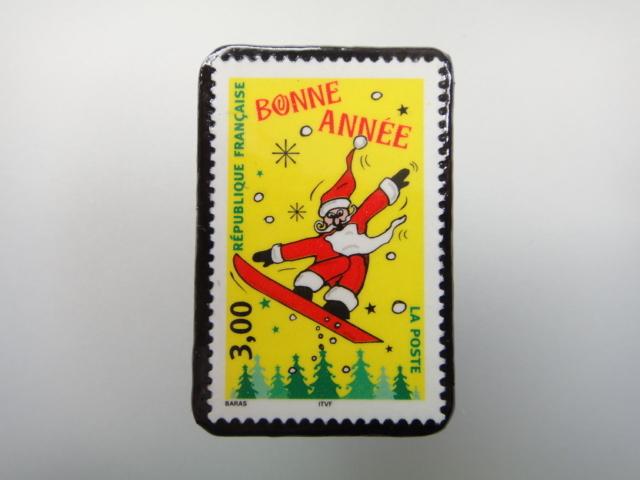 フランス クリスマス切手ブローチ1883