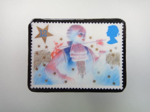 イギリス クリスマス切手ブローチ1885