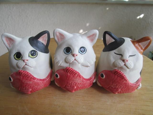 めで鯛・猫(白黒・長毛・三毛)