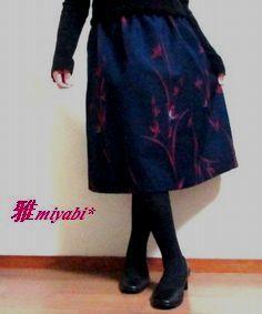 裏付Aライン刺繍花柄あったかウール着物...