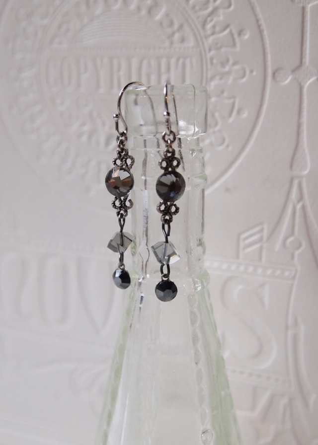 Gray rhinestone & silver earrings