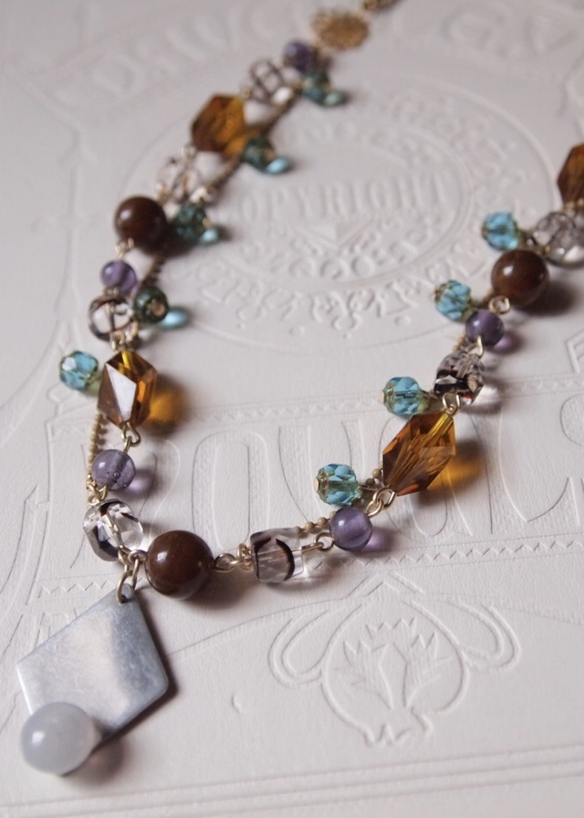 Amber, blue & purple necklace