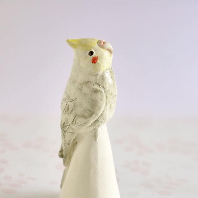陶器のオカメインコ (小鳥の置物 )