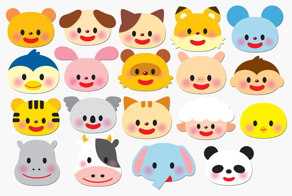 ★壁面飾り工房 可愛い動物の顔飾り(中) 19枚 保育園 幼稚園★