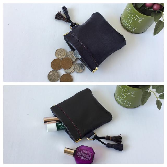 2色のレザーポーチ(紫×焦げ茶)