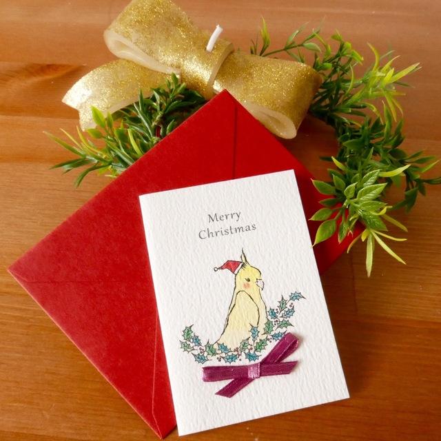 CHRISTMAS MINI CARD - オカメインコ 2PC SET-