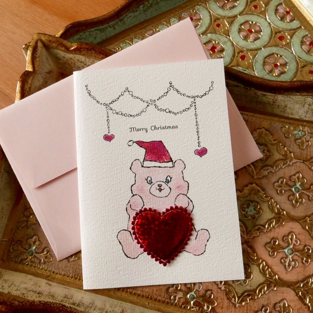CHRISTMAS CARD PINK SANTA BEAR 2PC SET