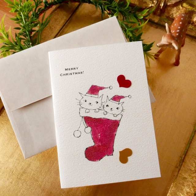 CHRISTMAS CARD CAT BOOT 2PC SET
