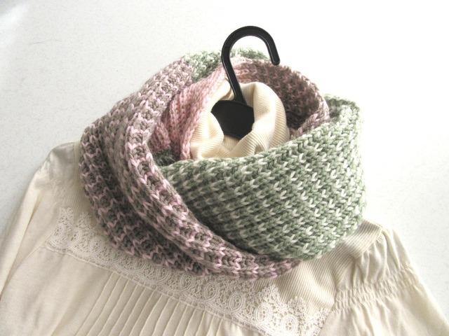 イギリスゴム編みの3色スヌード