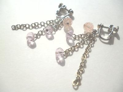 キャンディビーズ・カットガラスのイヤリング