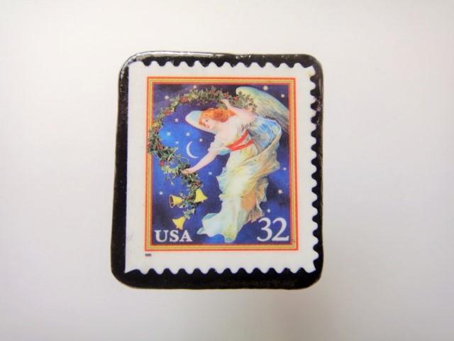アメリカ  クリスマス切手ブローチ436