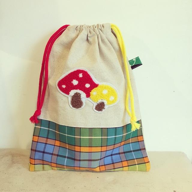 キノコとチェックな巾着袋(BA-038)