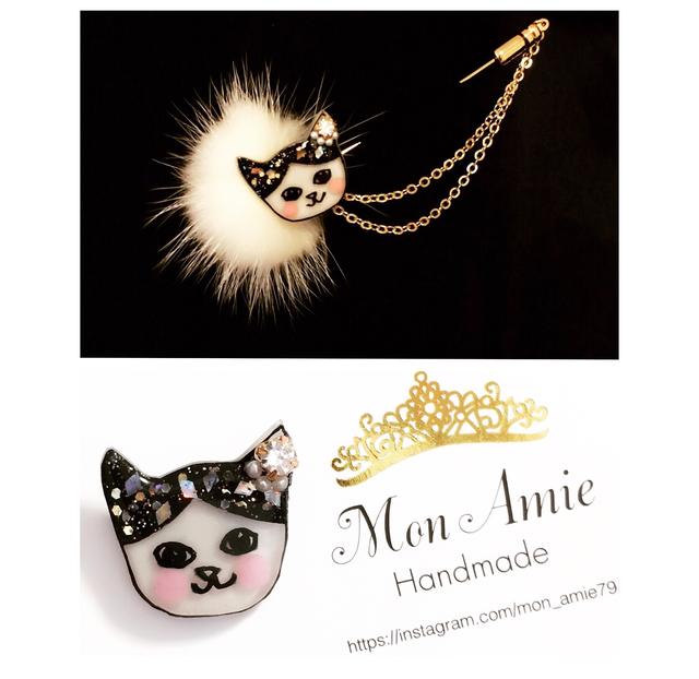 【送料無料】白猫のブローチ&ピン